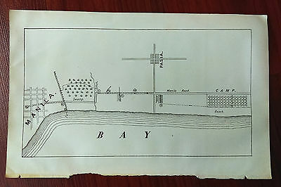 1898 Sketch Map Manila Bay Beach and Camp Philippines Spanish American War