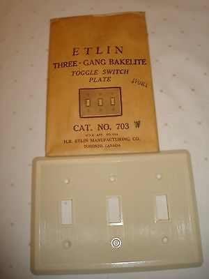 Vintage Etlin Bakelite 3 Gang Ivory Ribbed Toggle Wall Plate Nos 703 W