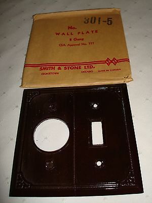 Vintage Smith & Stone Bakelite 2 Gang Brown Ribbed Wall Plate Nos 301-5