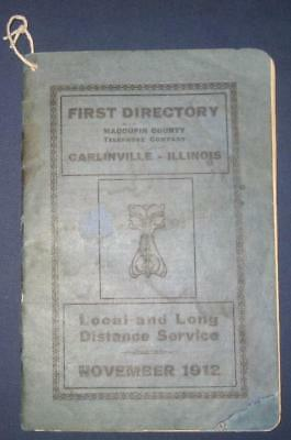 1912 Carlinville Il Macoupin County Telephone Co Directory Book Vintage Old