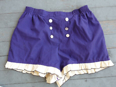 VTG DIY ROCKABILLY PIN UP shorts PURPLE HIGH WAIST L XL 42 44 RUFFLE SAILOR PLUS