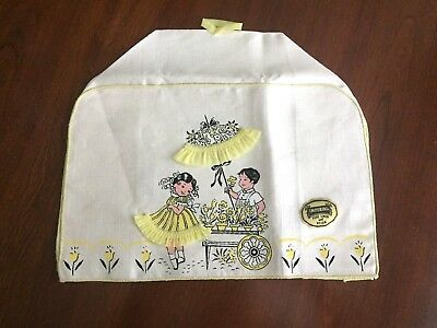 Vintage Linen Toaster Cover Girl/Boy Flower Cart Yellow Trim Label Imperial