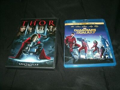 Guardians of the Galaxy (Blu-ray/3D Blu-ray, 2014) And Thor (DVD, 2011)