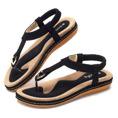 SOCOFY Women Beach Clip Toe Flats Soft Sole Ankle Strap Sandals Casual Slippers
