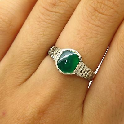 Vintage 925 Sterling Silver Real Green Chalcedony Gem Ring Size 6.5