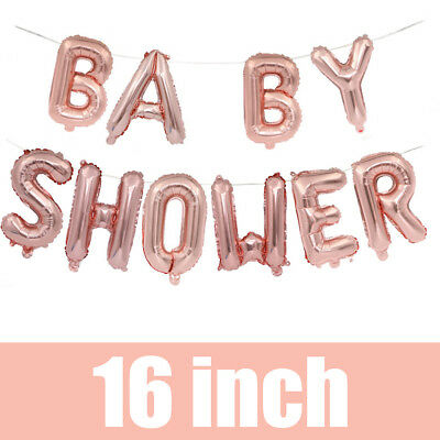 "Baby Shower 16"" Foil Letter Balloon Party Banner +String Rose Gold Party  IN9X"