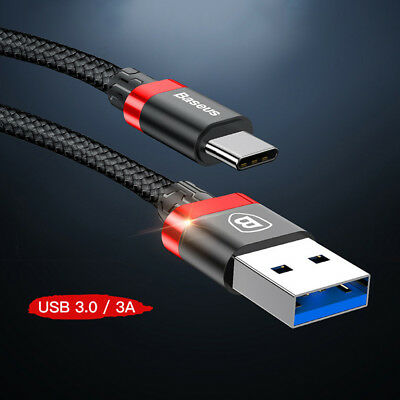 For BASEUS Strong Braided Fast USB Type C Data Sync Charger Charging Cable Lead