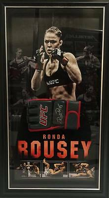 Ronda Rousey Hand Signed Framed Ufc Champion Glove With Backdrop Mcgregor