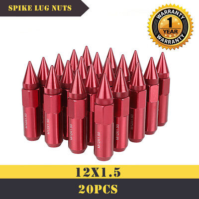 20PCS M12X1.5 60mm Cap Spiked Extended Tuner 60mm Aluminum Wheels Rims Lug Nuts