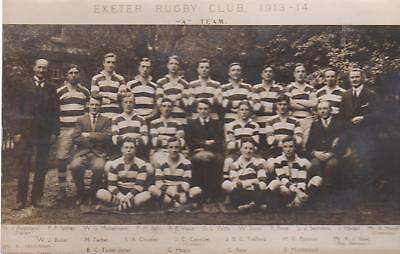 Vintage Rp  Card Of Exeter Rugby Club 1913-14