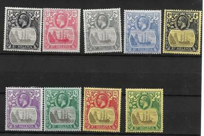 ST HELENA, KGV1, SHIP SERIES, 1/2d-5/-, SG 92-110, 9 VALUES M/MINT, CAT £115