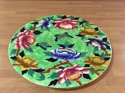 vintage large maling 11.1/4ins charger / display plate flower butterfly pattern