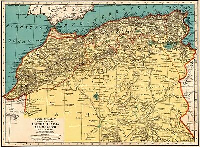 1939 Antique MOROCCO Map Vintage Map of Algeria Tunisia North Africa Map 5553