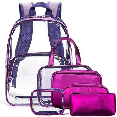 6 in 1 PVC Clear Backpack with Cosmetic Bag Set Makeup Pouch Transparent Bookbag