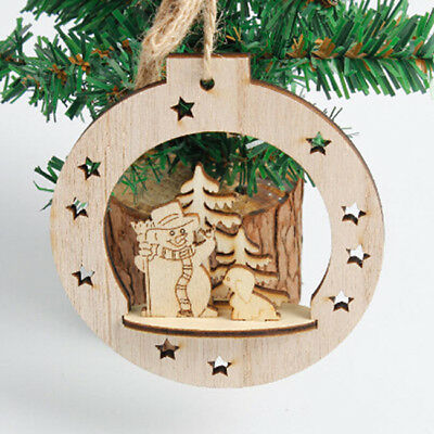 Christmas Wooden Tree Pendant Hanging Elk Xmas Decor Ornaments Decorations Z