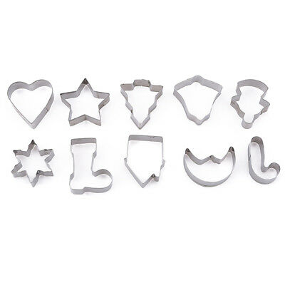 10X Christmas Cookies Cutter Biscuit Fondant Cake Decoration Baking Mould Set Z