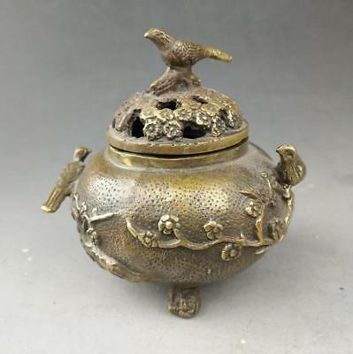 China old fengshui pure copper hand-carved plum blossom and bird censer b02