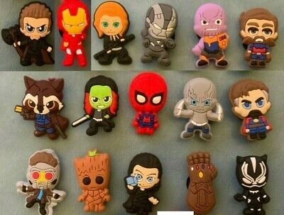 16 x AVENGERS 3 Jibbitz Shoe Charm made for Crocs & Wristbands.