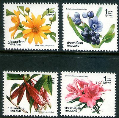 Thailand 1992 New Year Flowers set of 4 Mint Unhinged