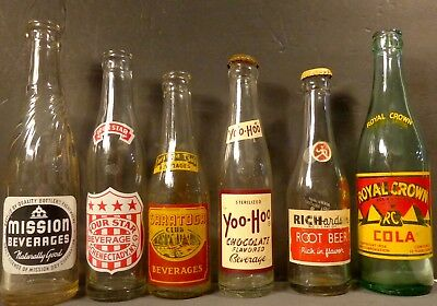Lot of 6 Assorted Antique Soda Bottles Four Star,Root Beer,Saratoga,Yoo Hoo,Etc.
