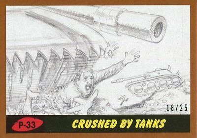 Mars Attacks The Revenge Bronze [25] Pencil Art Base Card P-33 Crushed by Tanks