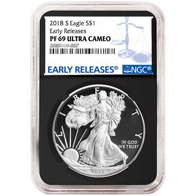 2018-S Proof $1 American Silver Eagle NGC PF69UC Blue ER Label Retro Core