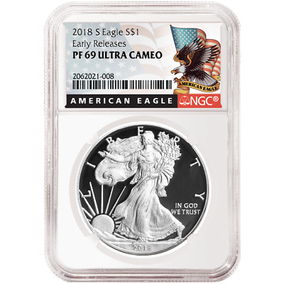 2018-S Proof $1 American Silver Eagle NGC PF69UC Black ER Label
