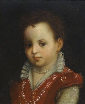 Fine 16th Century Italian Old Master Child Portrait Girl Antique Oil Painting