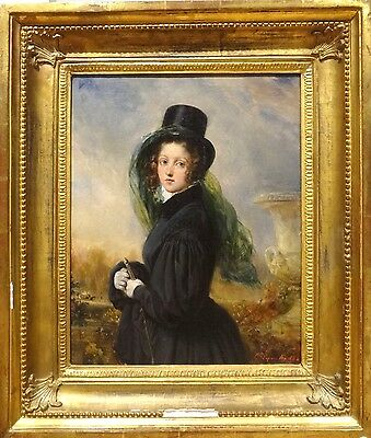 Fine 19th Century French Lady Portrait Horse Ridding Antique Oil Painting Signed