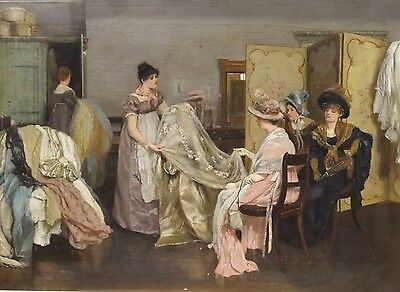 Fine 19th Century Ladies Dress Shopping Interior Scene Antique Oil Painting