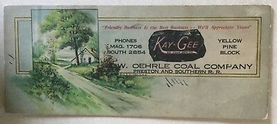 Kay-Gee, Edw. Oehrle Coal Co., Preston and Southern Railroad Ink Blotter