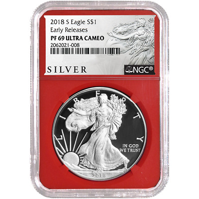 2018-S Proof $1 American Silver Eagle NGC PF69UC ALS ER Label Red Core
