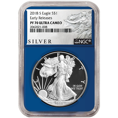 2018-S Proof $1 American Silver Eagle NGC PF70UC ALS ER Label Blue Core
