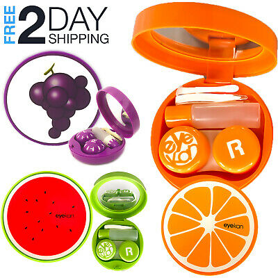 OH Fashion Contact Lens Case Fruits 5 PCs Travel Case Solution Bottle Mirror