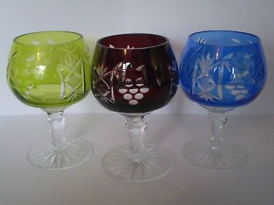 Stunning Vintage Set Of Three Cut To Clear  Bohemian Glass, Brandy/wine Glasses