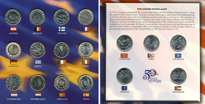 2002 Us Mint 50 State Quarters & Euro Collection Coin Set