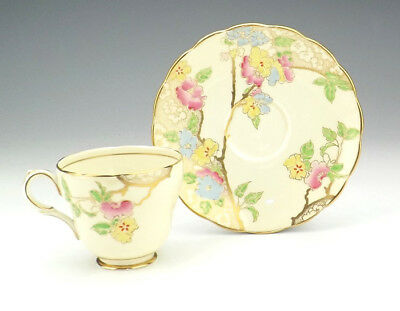 Vintage Grosvenor China - Hand Painted & Gilded Cup & Saucer - Pretty!
