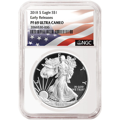 2018-S Proof $1 American Silver Eagle NGC PF69UC Flag ER Label