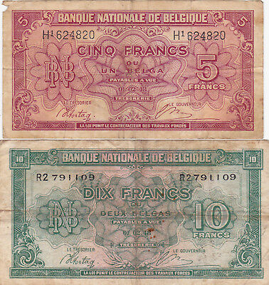 5&10 Francs Vg-Fine Banknote From German Occupied Belgium 1943!pick-121-122