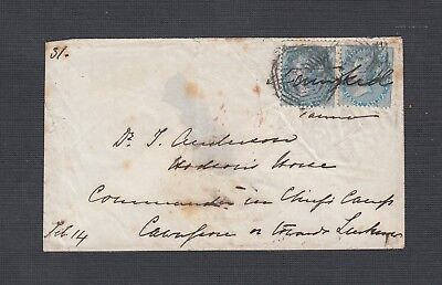 India 1858 1/2A Pair Cover To Military Relief Force  Cawanpore