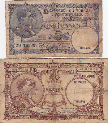 5&20 Francs Vg Banknotes From  Belgium 1927-38!pick-108-98