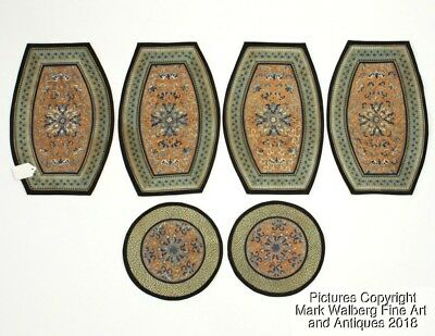 Set of SIX Chinese Textile Cushion Pieces, Embroidered Panels, 19th Century