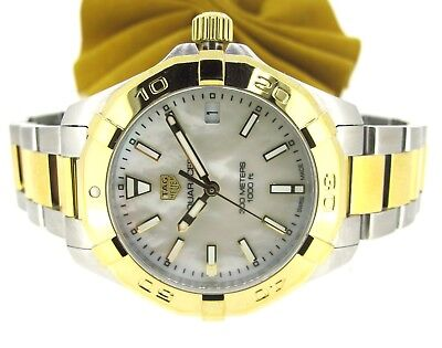 TAG Heuer Aquaracer Two Tone Quartz Women's Mother of Pearl Dial Watch 27 MM