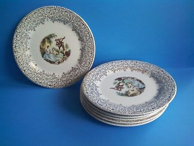 "6 LIMOGES AMERICAN TRIUMPH CHINA D'OR  6 1/2"" Dessert Plates IT-S 284 - 22K Gold"