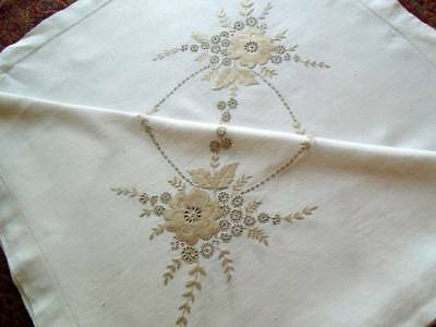 Vintage Hand Embroidered Linen Tablecloth~Neutral Floral Ecru Colours On White