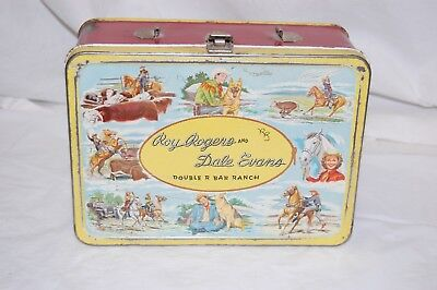 1950s Roy Rogers And Dale Evans Steel Lunch Box Double R Bar RanchFree Ship!