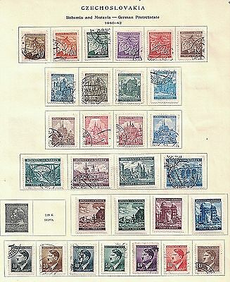 Czechoslovakia 1940s Used & Unused on 12 Album Pages - Less than $2 Per Page