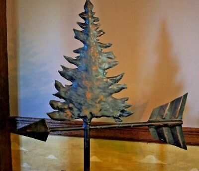 Original Artist Handmade Signed Weather Vane Pine Tree with Display Stand