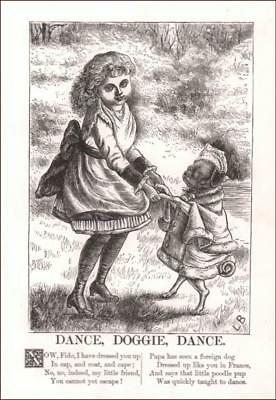 GIRL DANCING with DRESSED UP PUG DOG by Joseph Swain, antique engraving 1882