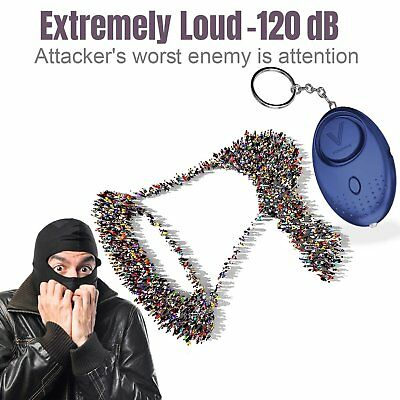 Emergency Personal Alarm W/LED Light Siren Song Extremely Loud 120dB W/ Keychain